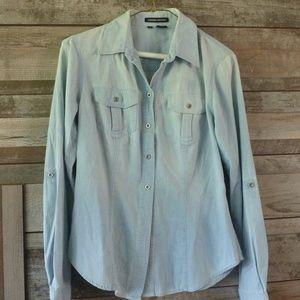 Sandra Ingrish roll sleeve button up shirt Sm.